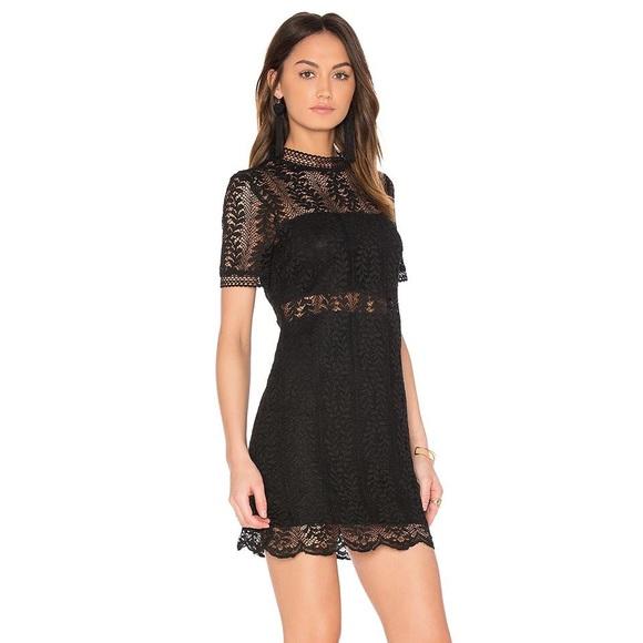 MinkPink Black Tell Tale Lace Dress Sz S beb45454f